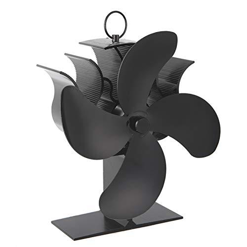 AHWZ Kamin Holzofen Oder Pelletofen Effektiv Dispergierwerkzeuge Warmluft in Ihrem Wohnzimmer Elektroherd Fan,Schwarz