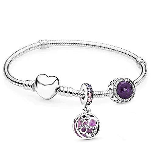 belinia prestige - Pulsera para Mujer - Pulsera con dijes de corazón + Charm de Oro Rosa + Joyero para Pulsera y Charm (Violet, 20)