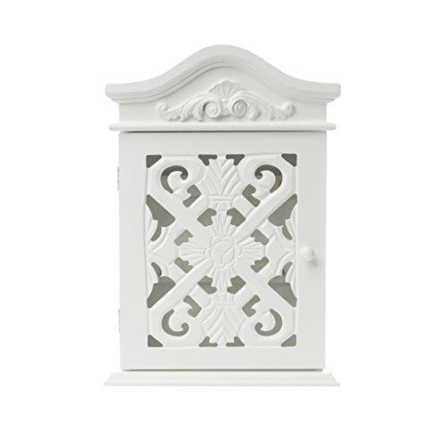 elbmöbel Schlüsselkasten mit Ornamenten und Schnitzereien mit Tür in weiß antik aus Holz im Landhaus-Stil