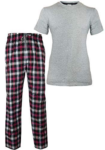 Gabz Men Two Piece Pajamas Set / Cotton Short Sleeves And Check Pattern Pajama Night Suit (S, grey)