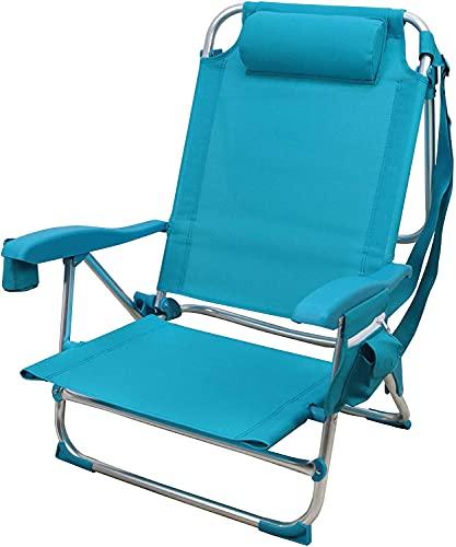 BRAVO HOME Chaise de Plage Pliante avec Oreiller, 5 Positions - Chaise pour Plage, Camping, Jardin,...