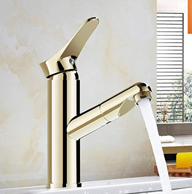 ROKTONG Faucet gold Pull-Out Basin Washbasin Hot And Cold Faucet Copper Basin Wash Basin Faucet gold Plated Retractable, A