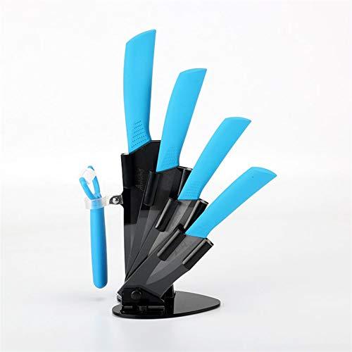 Cuchillos de cocina Cuchillos de cerámica Accesorios Conjunto de 3'Paring 4' Utility 5'Slicing 6' Cuchillo de chef + Titular + Pelador Black Blade juego de cuchillos de cuchillo