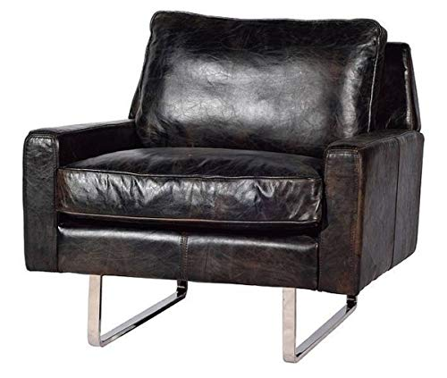 Casa Padrino Echtleder Sessel Vintage Schwarz/Silber 87 x 86 x H. 83 cm - Leder Möbel
