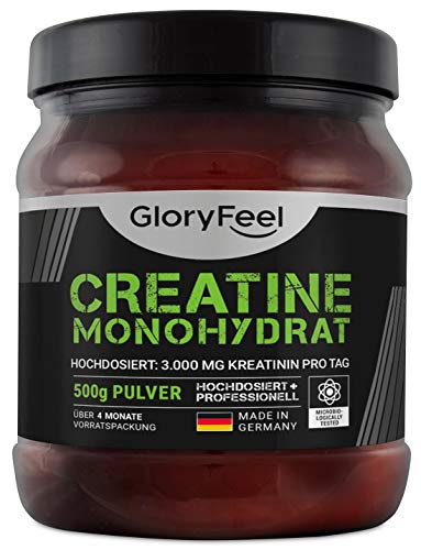 GloryFeel® Creatin Monohydrat Pulver 500g - 100% Rein und Laborgeprüft - Markenqualität Vegan und ohne Zusätze hergestellt in Deutschland