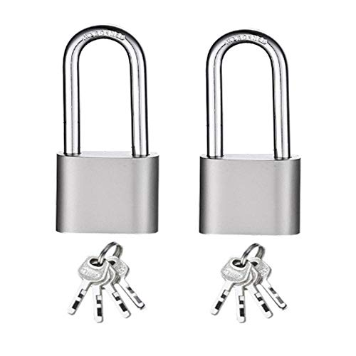 Small Padlocks with Keys Padlocks Outdoor Heavy Duty Best Used for Backpacks, Luggage, Computer Bags, Locker, Gym and More (Pack of 2)-Long_Padlock_50_MM