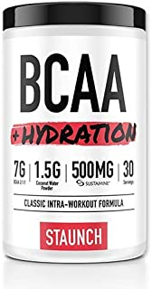 Staunch BCAA Powder - BCAA + Hydration Complex - Peach Mango 30 Servings - Recovery and Coconut Water Hydration Branched C...