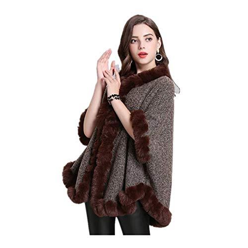 Invierno cálido imitación lana cachemira grueso abrigo de manga corta poncho damas casual suelto más cuello de pelusa cárdigan imitación piel bufanda chal corto