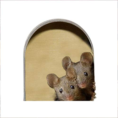 Chilits Mouse Stickers, 5pcs 3D Mouse Hole Wall Stickers, Realistic Mouse Wall Sticker Mice Home Funny Mouse, Removable Wall Art, Unique Wall Sticker, for Wall Door Window, Walls Car Bumper Window