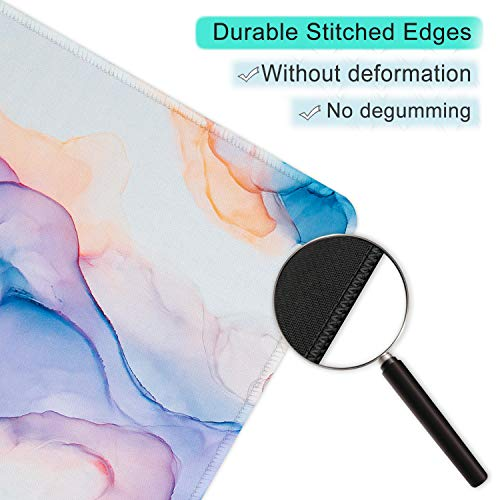 ITNRSIIET Gaming Mouse Pad with Stitched Edges, Premium-Textured Mouse Mat Pad, Non-Slip Rubber Base Mousepad for Laptop, Computer & PC, 10.2×8.3×0.12 inches, Blue Modern Marbling Photo #2