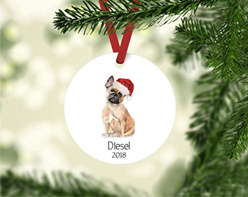 DKISEE French Bulldog ornament dog ornament dog ornament met naam gepersonaliseerd bulldog ornament bulldog ornament bulldog owner cadeau 3 inch