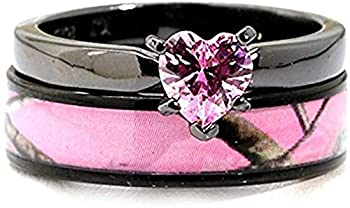 Black Plated Pink Camo Wedding Ring Set Pink Heart Engagement Rings Hypoallergenic Titanium and Stainless Steel  8