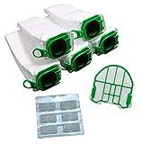 FSProdukte Set di 5 sacchetti per aspirapolvere, 1 filtro di protezione del motore e blocchi profumati adatti per Vorwerk Folletto VB 100 VB100 FP 100 FP100 Premuim