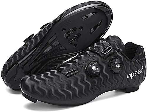 CHUIKUAJ Zapatos de Ciclismo para Hombres, Mujeres, Zapatos para Montar en Carretera, Zapatos Giratorios con Hebilla, Tacos Compatibles con SPD Look Delta,Black-36EU