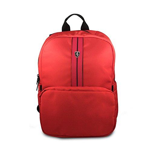CG mobile Ferrari Urban Collection 38,1 cm in nylon rosso in carbonio in pelle con imbottitura nera doppio scomparto per 39,6 cm MacBook Pro Bag