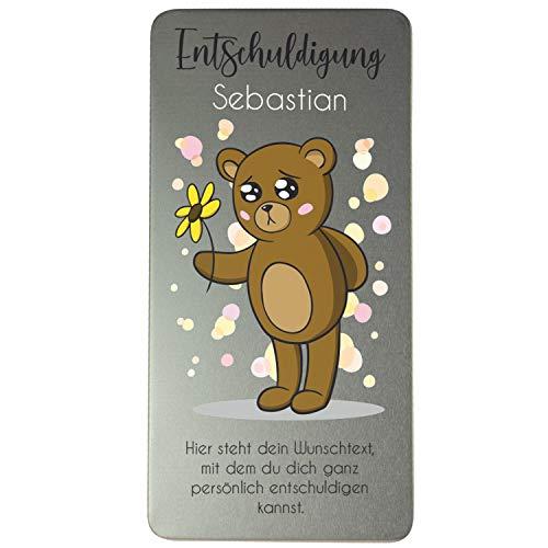 Schokoladen-Box Entschuldigung: Schokoladenbotschaft mit Name und persönlichem Spruch personalisiert, Gutscheinbox, Geschenkdose aus Metall, Entschuldigungs Geschenk