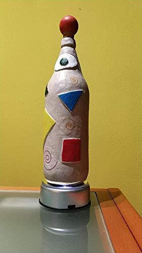Botellas con suerte - Decoración Botella Reciclada Cruzcampo Arena de playa y decoupage de 28cm + Base giratoria con luces de colores