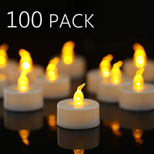 YIWER 100 unidades LED Velas Velas CR2032 pilas velas sin llama,Velas de té,Velas LED,Velas parpadeantes sin Llama,Velas Artificiales realistas a Pilas con luz Amarilla cálida,100pcs