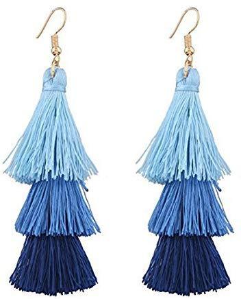 Pendientes colgantes de borla para mujer y niñas, con flecos cortos, con borlas, color azul, color azul (color: azul)