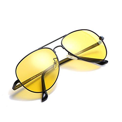 Myiaur HD Gelbe Nachtsichtbrille Autofahren Polarisiert für Damen Herren Pilotenbrille with 100{6095203f03df4952aea4a5331819924943dd23cb0066d599eae42b060cc45424} UVA UVB Schutz Entspiegelten (nv0623blackyellow)