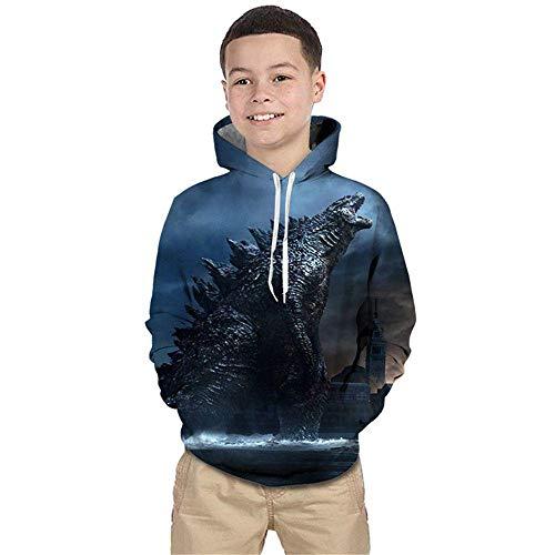 RKWEI Ragazzi Ragazze Bambini con Cappuccio Cerniera Girocollo Manica Lunga Stampa 3D Mostro Godzilla Maglione Modello Felpe Autunno e Inverno Felpe con Cappuccio 150Cm