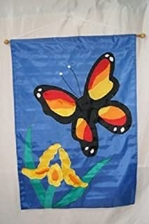 ALBATROS 28 in x 40 in Embroidered Sewn Butterfly Flower Appliqued Nylon Garden Flag 28 in x 40 in for Home and Parades, Official Party, All Weather Indoors Outdoors