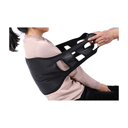 Kangwell Patient Lift Transfer Sling Gait Belt with Handle, Back Curve Widening Design,Medical Nursing Safety Assist Device for Moving Seniors (Black)
