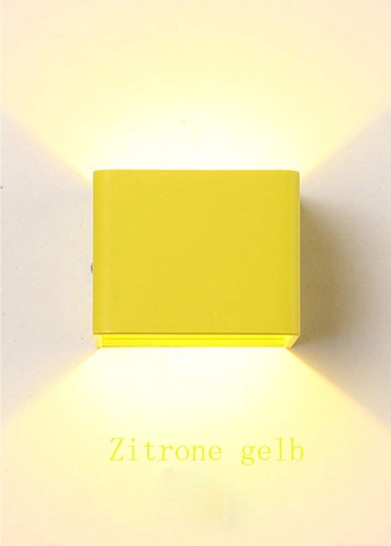ZY LED Wandleuchte Modern Eckig Design Wandlampe Wohnzimmer Esszimmer Schlafzimmer Arbeitszimmer Landhaus Küche Flur Kinderzimmer Leuchte Wand Beleuchtung Metall Lampe Warm Licht 7W (Zitrone gelb)