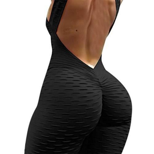 YO-HAPPY Mameluco para Mujer, Mujeres Yoga Conjunto de Mono Deportivo Body Mameluco Gimnasio Fitness Pantalones Cortos para Correr Sexy