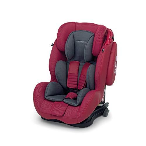 Foppapedretti Isodinamyk Seggiolino Auto ISOFIX Gruppo 1/2/3 (9-36kg), per Bambini da 9 Mesi Fino a 12 Anni, Rosso (Cherry)