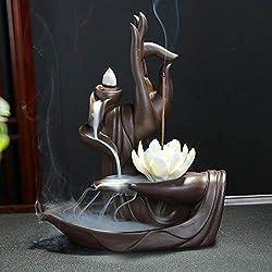 Lotus Räucherstäbchen Halter, Keramik Räucherstäbchenhalter mit 10PCs Rückfluss Räucherkegel, Rückfluss Räuchergefäß Räucherstäbchen Rückfluss