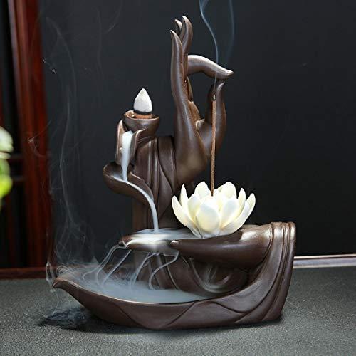 Brûleur d'encens Zen Lotus à contre-courant avec cône d'encens à contre-courant 10pcs, brûleur porte-cône d'encens à contre-courant en céramique