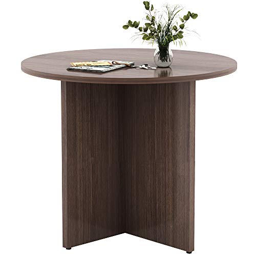 CUBESPACE Round Conference Table, Small Pedestal Tables for Home Office, Dining Table with X-Shaped Wood Base, 35.43 inches (Walnut)