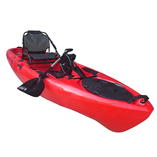 BKC PK11 Angler 10.5-Foot Sit On Top Solo Fishing Kayak w/Instant Reverse Pedal Drive, Hand Control Rudder, Paddle, and Upright Seat (Red)