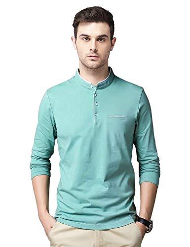 EYEBOGLER Stylish Band Collar Full Sleeve Men's T-Shirt (L-EBT325-PGWH) Pastel Green