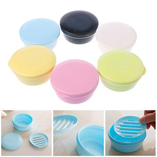 Lunji - Jabonera de viaje de plástico con tapa, color aleatorio.