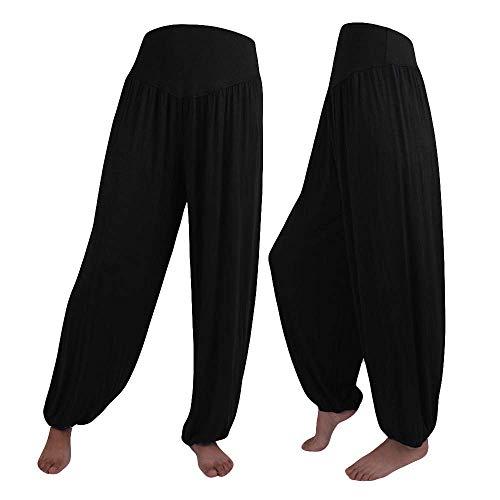 KIMODO® Damen Lose Elastische Haremshose Yoga Sport Tanz Pumphose Weiche Hose Einfarbig Freizeit Jogginghose Pants Große Größen (Schwarz, M)