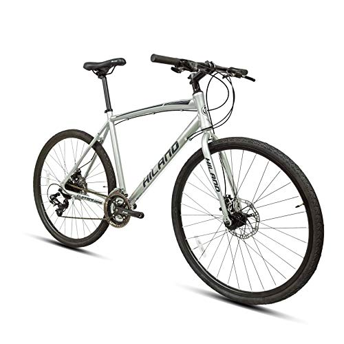 Hiland Road Hybrid Bike Urban City Commuter Bicycle with Disc Brake for Men Comfortable Bicycle 700C Wheels 24 speeds Bikes Silver