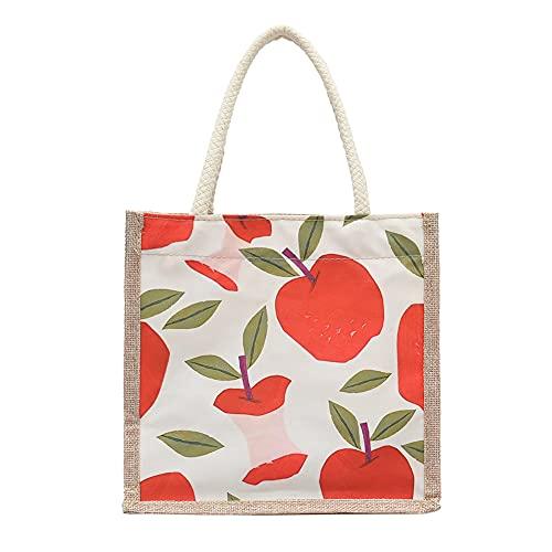 Obst-Jute-Tasche, kleine Einkaufstasche, Jute-Achseltasche, kleine Strandtasche, geeignet für Arbeit, Einkaufen, Strand, Party