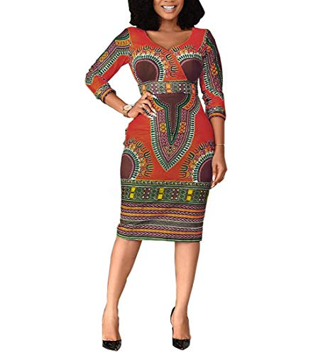 Women Bohemian V Neck African Printed Ethnic Style Summer Bodycon Shift Dress