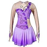 Robe de Concours de Patinage Artistique pour Enfants à Manches Longues Fleur à la Main Dégradé Violet Filles Vêtements de Performance/Exercice de Patinage sur Glace Mignons de Gymnastique,Purple,XS