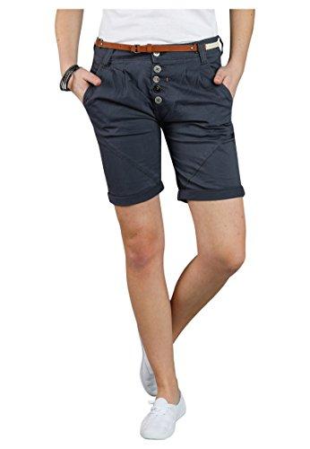 Sublevel Damen Chino Bermuda Shorts mit Knopfleiste Dark-Blue M
