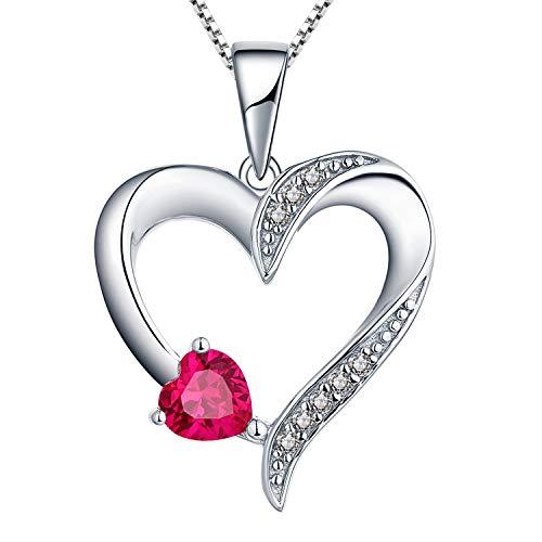 YL Kette Herz Damen Halskette Silber 925 mit Juli Geburtsstein Rubin Anhänger für Frauen