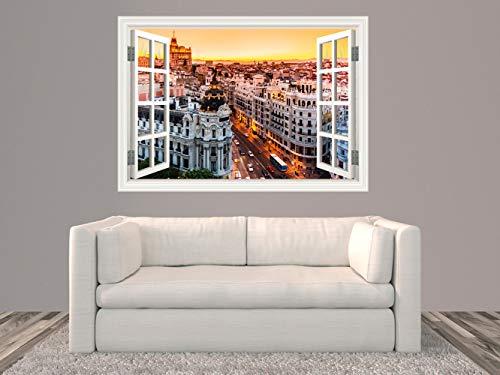 Oedim Vinilo Ventana Madrid Puesta de Sol, Adhesivo Incluido, Decoracion Habitación, Pegatina Adhesiva Diseño Profesional, 100x70 cm