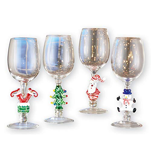 Christmas Themed Decorated Festive Wine Glasses - Set of 4