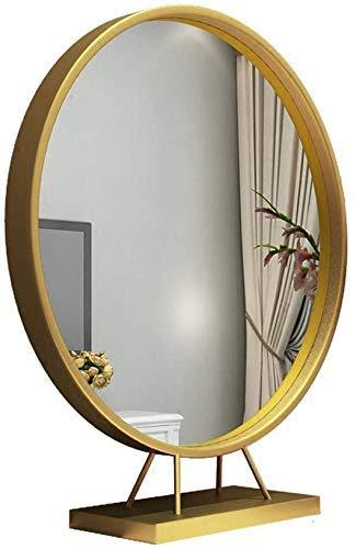 BXU-BG Hierro de una Cara de Maquillaje Europea Espejo Redondo de Escritorio Dormitorio Escritorio de Vestir Princesa de Belleza Espejo (Color: Oro, tamaño: 50 cm)