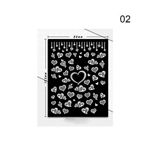 MEIYY Autocollant D'ongle 1 Feuille 3D Nail Autocollants Fleur Papillon Plume Mélangé Motifs Autocollant De Transfert Stickers Ongles Diy Conception Décoration Conseils