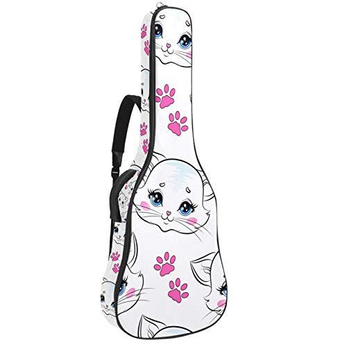 Mochila gruesa para guitarras populares, guitarras eléctricas, bajos, guitarras clásicas, lindo gato gatito, patrón de garra rosa