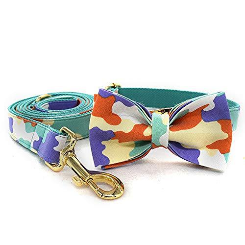unknow LYCZDP Collares para Perros, Collares para Perros Grandes, Medianos Y PequeñOs, Suministros para Mascotas, Collares para Perros Y Gatos De Camuflaje Verde