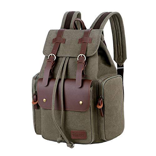 Wohlbege Men's Canvas Backpack Laptop Bag Travel Bag Vintage College School Bags Unisex Rucksack Hiking Climbing Camping Backpack (Green)
